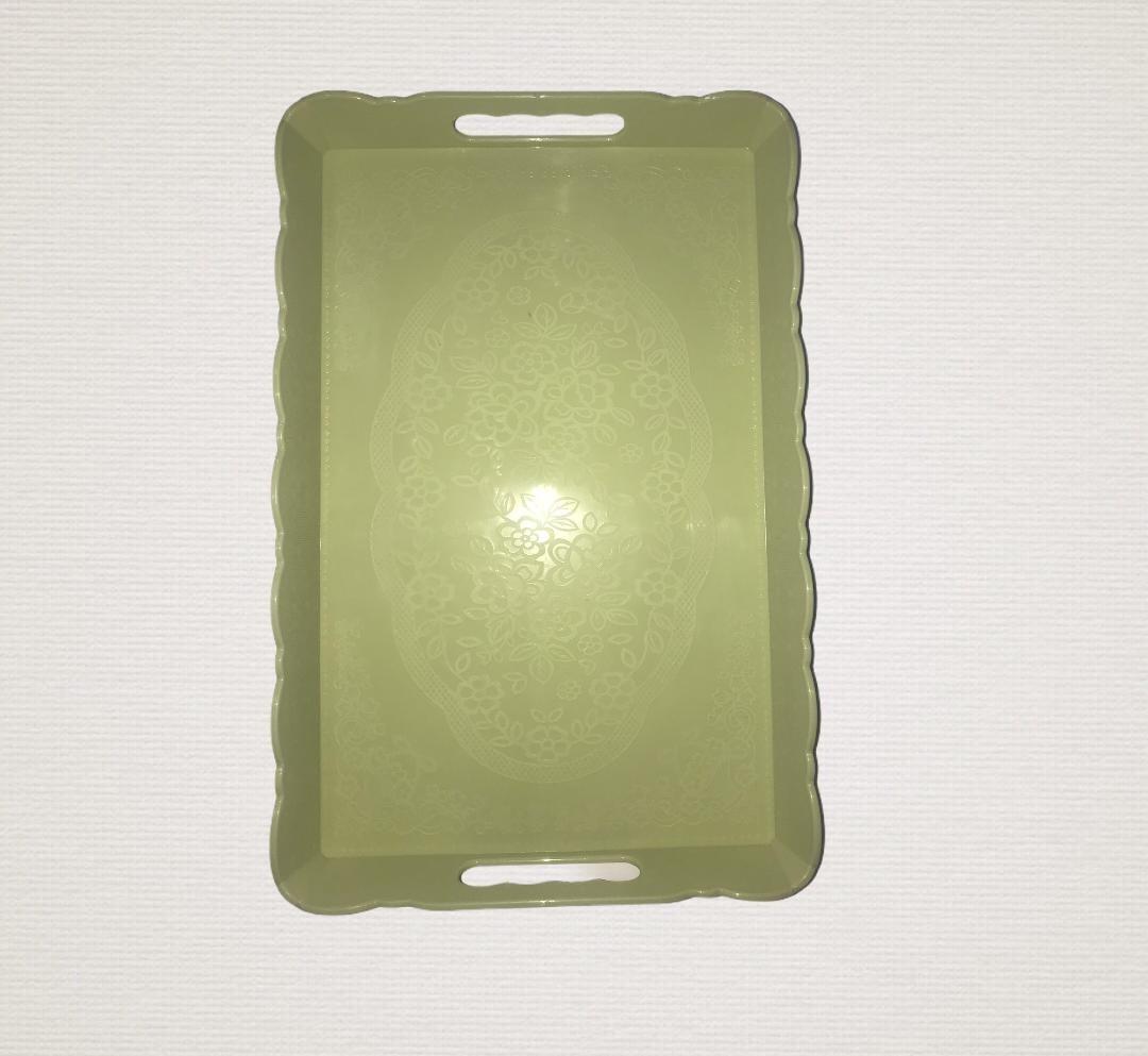 Plateau Rectangulaire En Plastique Avec Poignée Vert
