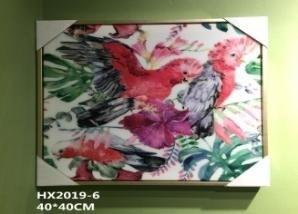 Tableau Decoratif-Deux Oiseaux sur Branche Fleurie