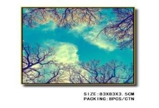 Tableau Decoratif -2 Branches d Arbres Contre le Ciel 83x83x3 5cm
