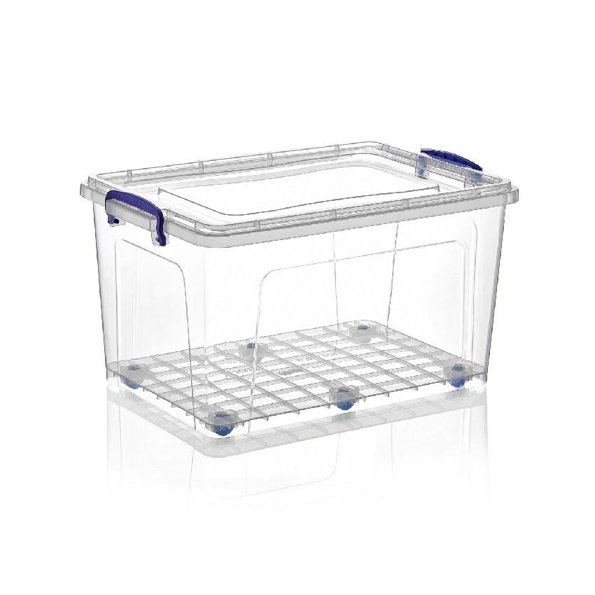 Boite en Plastique Transparent Rectangulaire avec des Roues 42L