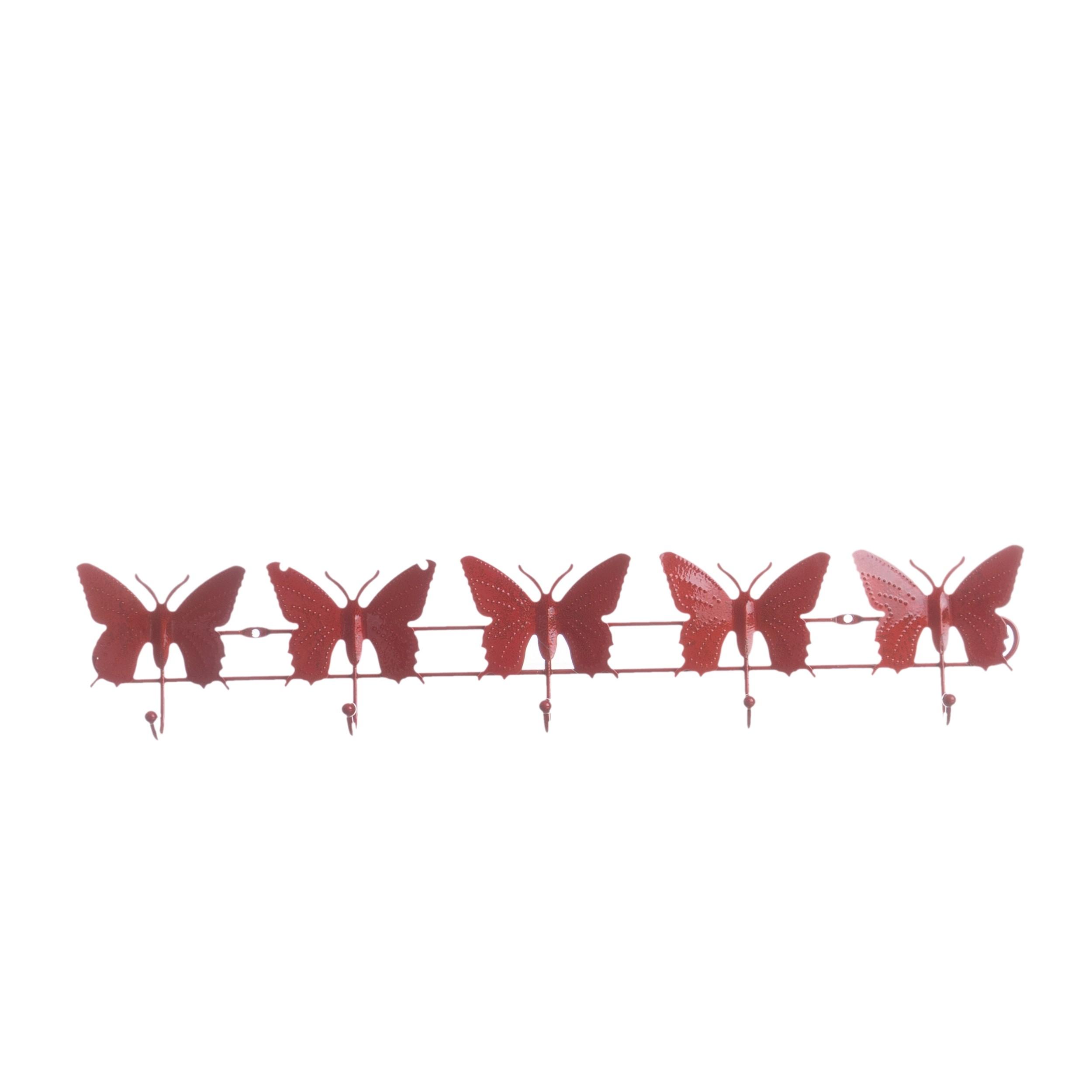 Porte Manteau Papillon en Acier Rouge