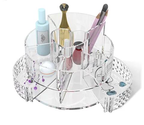 Rangement de Maquillage et Accessoires Rond avec Tiroir