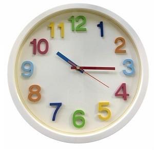 Horloge Murale Rond Blanc Avec Chiffre en Couleur