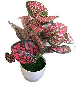 Pot de Fleur Artificielle en Plastique Rose
