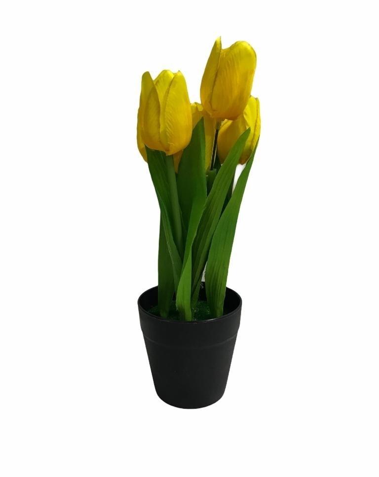 Pot de Fleur Artificielle en Plastique Jaune