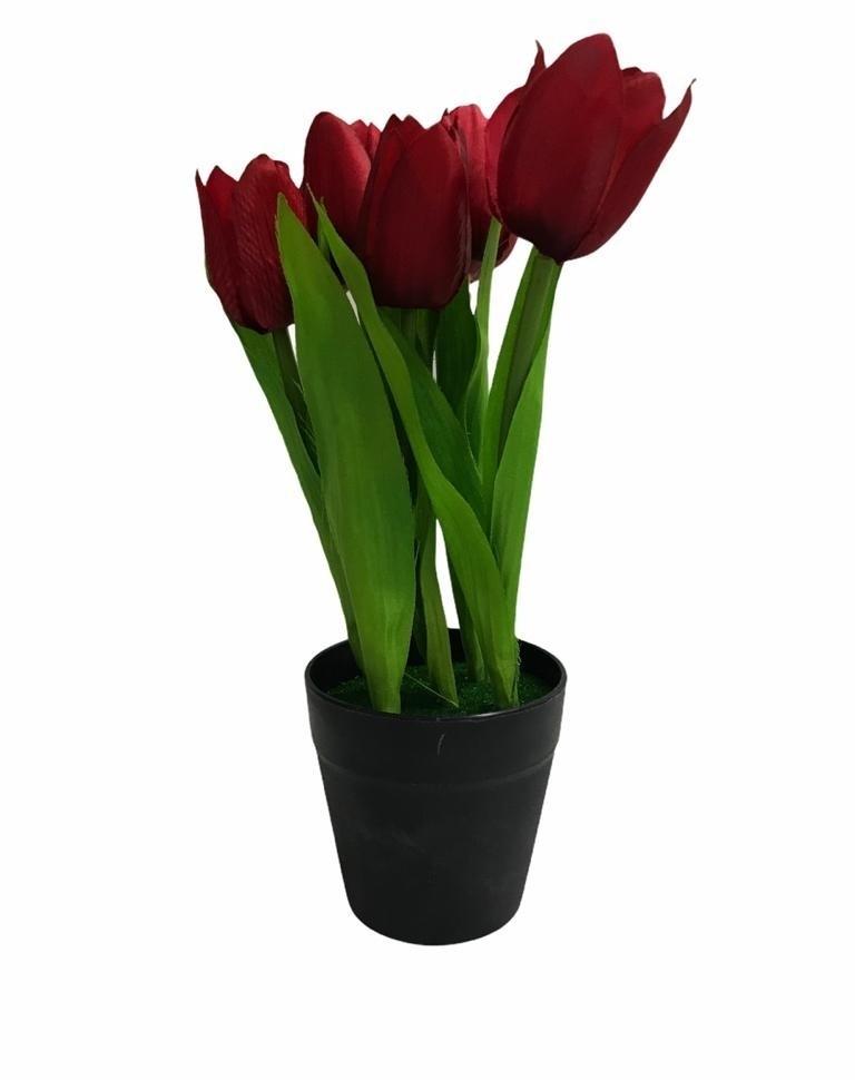 Pot de Fleur Rouge Artificielle en Plastique