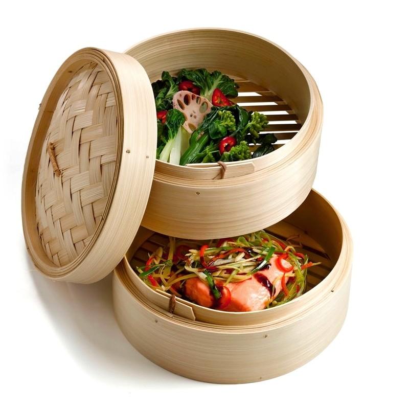 cuiseur Vapeur Bambou, Panier Asiatique avec 2 étages