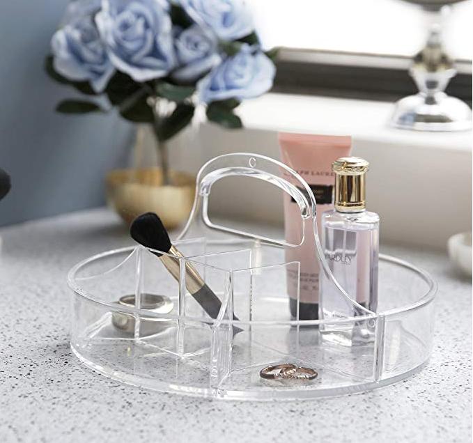 Panier Rangement de Maquillage Rond en Acrylique