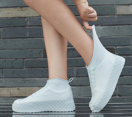 Couvre Chaussures en Silicone imperméable Antidérapant Blanc