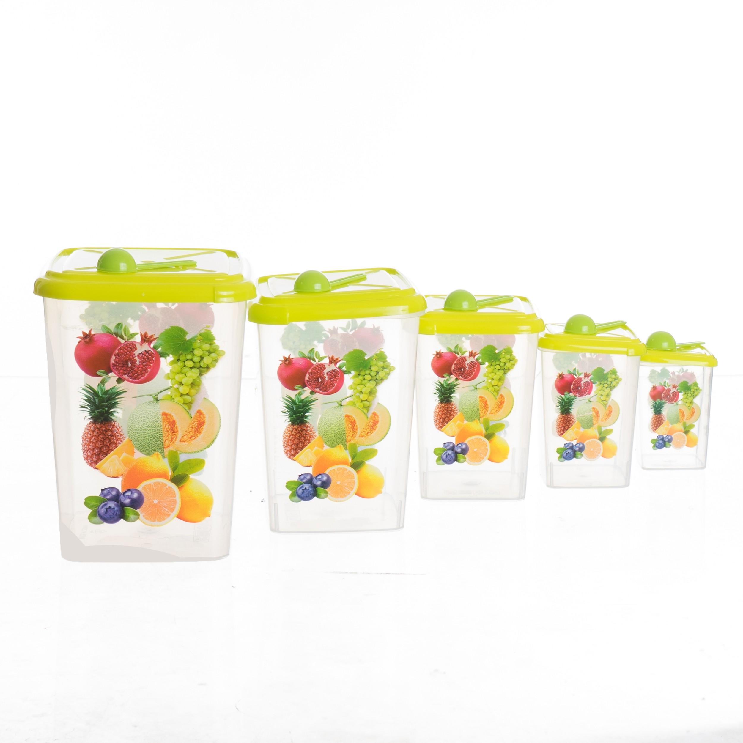 Lot de 5 Boites en Plastique avec Couvercles et 5 Cuillères vert