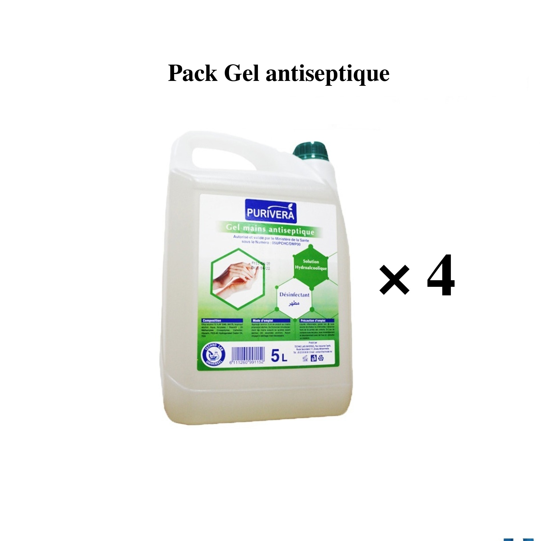 4 Bidons Gel Desinfectant Main 5l Pas Cher Sanili Maroc