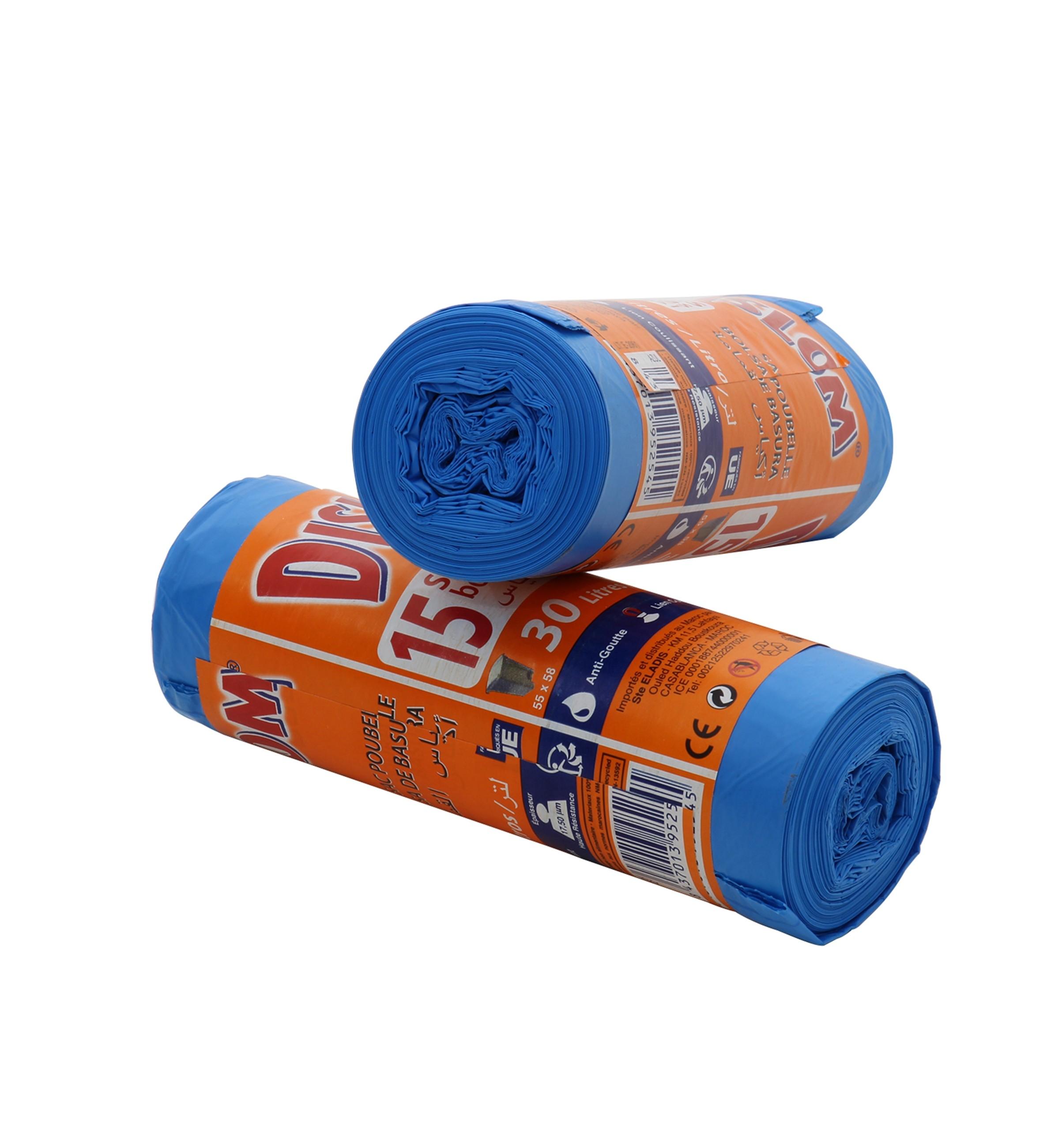Sac Poubelle Dislom azul Bleu Parfume 30L 15 pcs 55x58cm