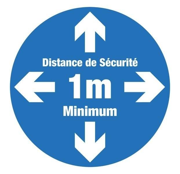 Stickers Autocollant Signalétique - Distance de Sécurité 1m Minimum -
