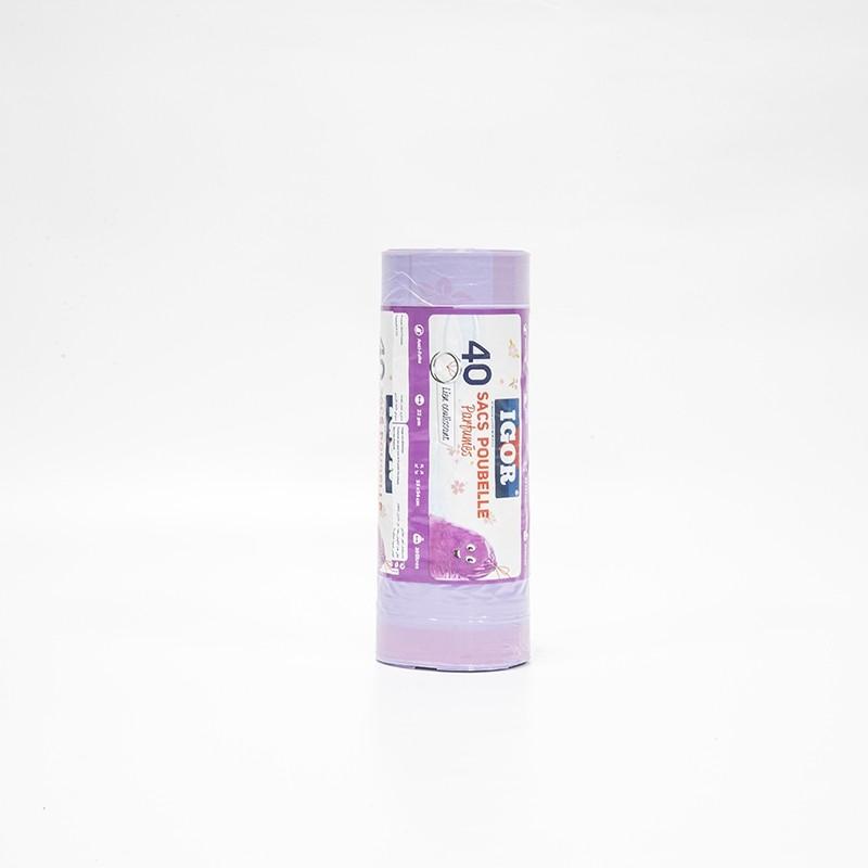 Sac Poubelle Parfumes Mauve 40Pcs 30L 54×55 cm