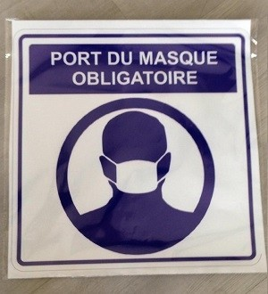 Sticker Autocollant Signalétique Carre - Port Du Masque Obligatoire -