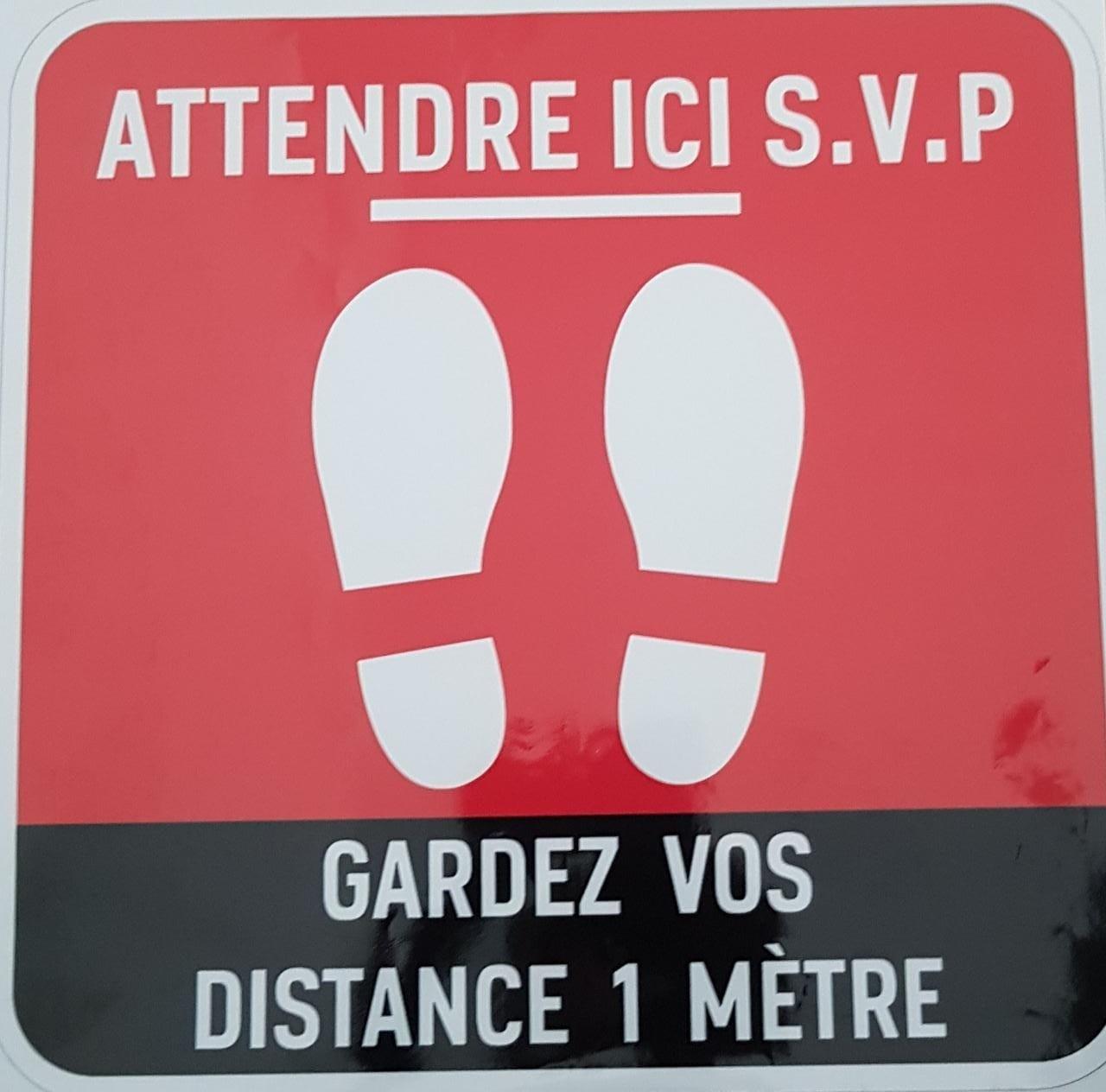 Sticker Autocollant Signalétique Carre - Gardez Vos Distance 1m -