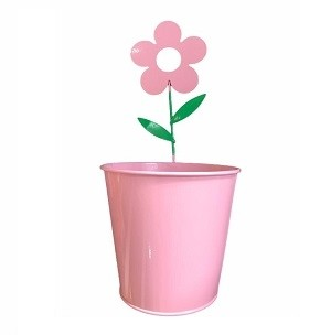 Pot De Fleur En Acier Rond Motif Fleur Rose Clair