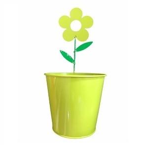 Pot De Fleur En Acier Rond Motif Fleur Vert