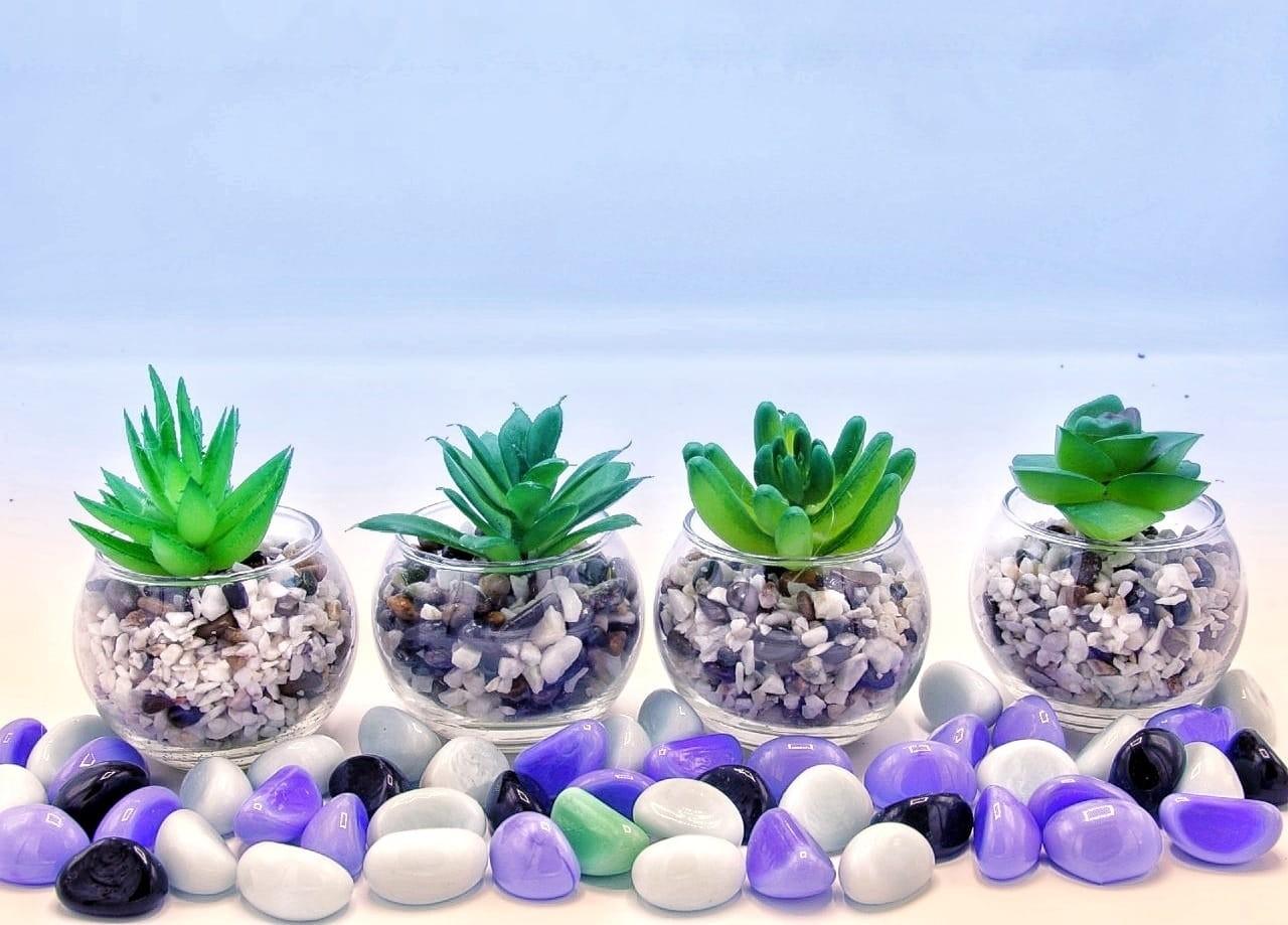 4 Pot de Fleur Artificiel en Verre 0111
