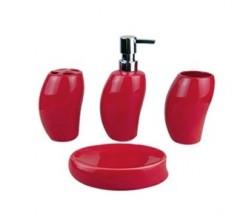 Accessoires sdb Porcelaine 5pcs Rouge