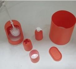 Accessoires sdb en Plastique Orange 6pcs