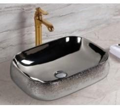 Vasque à Poser Carré Argenté 56x42x14.5cm TIVOLI
