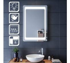 Miroir LED rectangulaire mural lumineux avec interrupteur 80x 65 cm