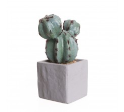 Cactus Artificiel en pot Ciment Gris