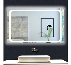 Miroir LED rectangulaire mural lumineux avec interrupteur 100x65 cm
