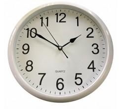 Horloge Mural Rond en Plastique Blanc avec Chiffre en Noir