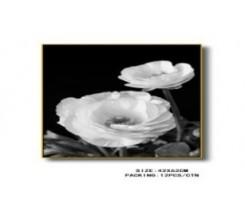 Tableau Décoratif - Fleurs Noir et Blanc