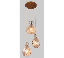 Suspension decoratif  coquillage en verre 3PCS doré 8827/3H-Y