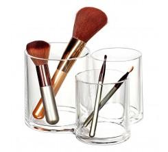 Rangement de Maquillage 3 Pots Pour Cotton en Acrylique