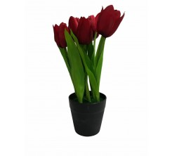 Pot de Fleur Rouge Artificielle en Plastique
