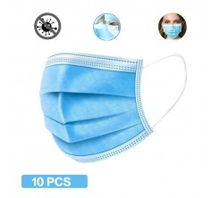 Masques de Protection Jetable avec Bavette Nasale Bleu Lot de 10 PCS