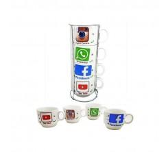 Ensemble de 4 Tasses à Café + porte-gobelet métallique