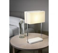 Lampe de Table en Acier et Tissue Blanc Jamela
