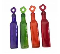 Bouteilles Huiliers  en verre avec couvercles en silicone multicolor