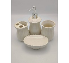 Accessoire SDB 4 PCS beige Ceramique