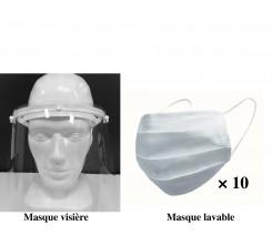 Pack de 10 masques en tissu lavables et 1 masque visière de protection