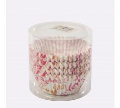 Set de 100 Caissettes Cupcakes et Muffins en Papier Motif Love
