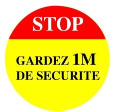 Stickers Autocollant Signalétique - Stop Garder 1m de Sécurité -