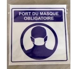 Sticker Autocollant Signalétique Carre - Port Du Masque Obligatoire -