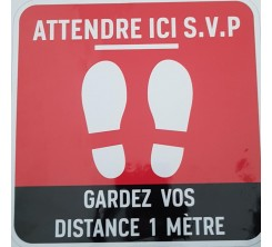 Sticker Autocollant Signalétique Carre - Gardez Vos Distance 1m -