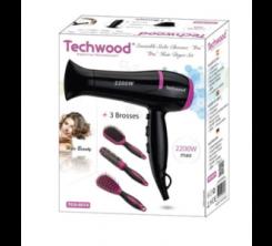 Coffret Coiffure Seche Cheveux fuschia Techwood livréé 3 brosse 2200w