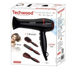 Coffret Coiffure Sèche Cheveux rouge Techwood. Livré 3 Brosses 2200w