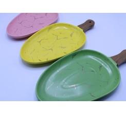 Plat en porcelaine Ovale avec manche en bois