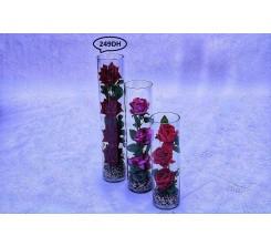 Fleur Artificielle Et Vase en Verre